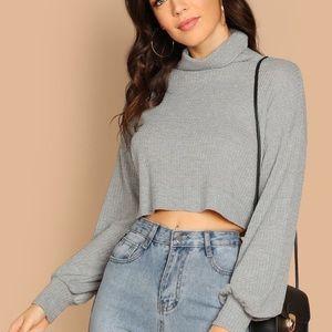 Mock Neck Raw Hem Grey Sweater